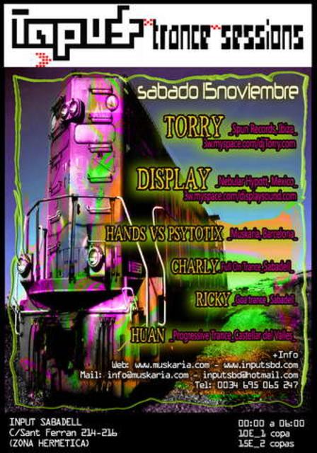 Party Flyer ..:: www.muskaria.com ::.. INPUT TRANCE SESSIONS 15 Nov '08, 23:30