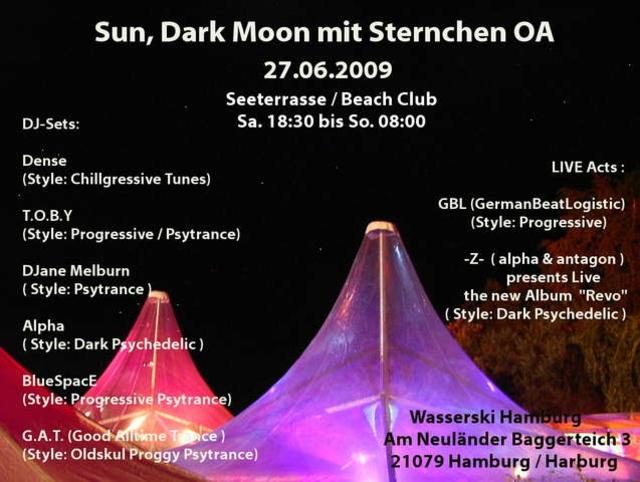 Party Flyer Sun, Dark Moon mit Sternchen OA 27 Jun '09, 19:00
