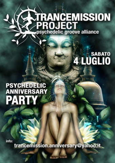 Party Flyer Trancemission project Psychedelic Anniversary 4 Jul '09, 22:00