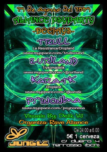 Party Flyer Aliance Psyparty@sala Jungle by Rave Aliance 29 Aug '09, 23:30