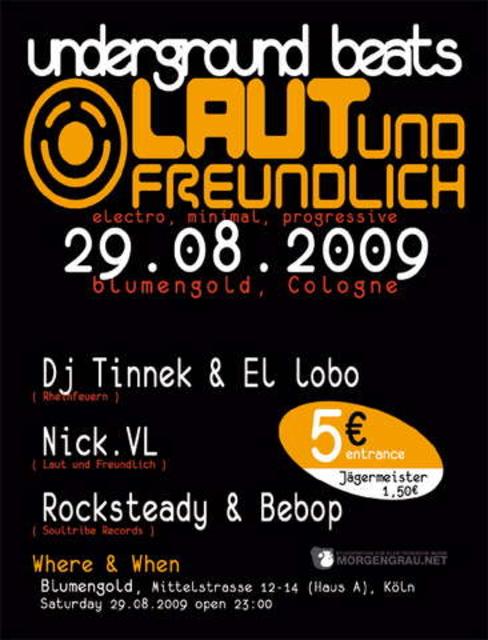 """Party Flyer Laut und Freundlich """"Underground Beats"""" 29 Aug '09, 23:00"""