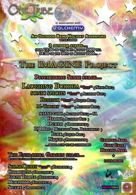 Party Flyer THE IMAGINE PROJECT - An Outdoor Bank Holiday Adventure 29 Aug '09, 23:00