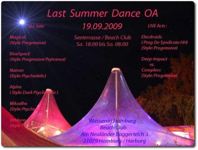 Party Flyer Last Summer Dance OA 19 Sep '09, 18:00
