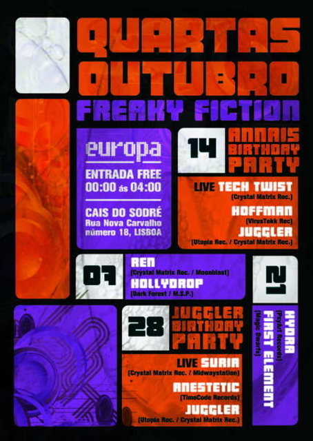 Party Flyer Freaky Fiction @ Europa 21 Oct '09, 23:30