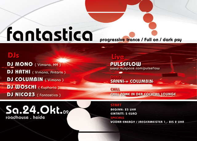 Party Flyer FANTASTICA THE CLUB 24 Oct '09, 23:00