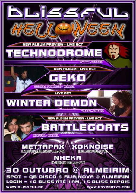 Party Flyer BLISSFUL TECHNODROME * WINTER DEMON * GEKO * BATTLEGOATS 30 Oct '09, 23:30