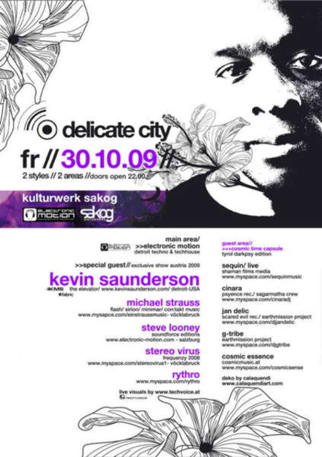 Party Flyer COSMIC TIME CAPSULE @ Delicate City with KEVIN SAUNDERSON 30 Oct '09, 22:00