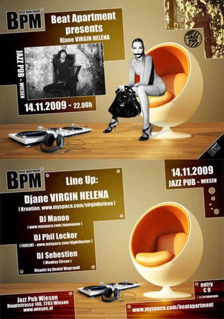 Party Flyer Beat aPartMent 14 Nov '09, 22:00