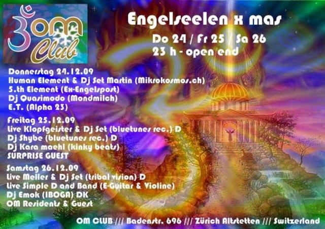 Party Flyer OM - CLUB X -MAS '' Engelseelentreffen '' 26 Dec '09, 23:00