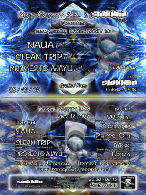 Party Flyer ((((((( ZERO GRAVITY REC PARTY )))))) STOKKLIN -SANT ESTEVE 26 Dec '09, 23:00