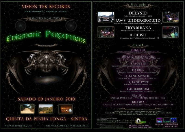 """Party Flyer """"Enigmatic Perceptions"""" 9 Jan '10, 23:30"""