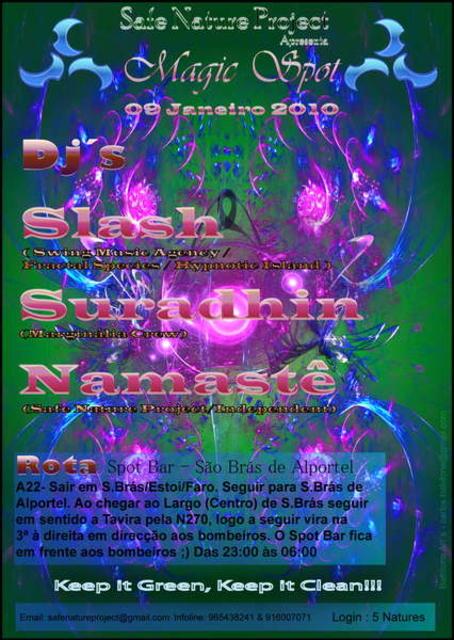 "Party Flyer Safe Nature Project presents ""Magic SPOT"" 9 Jan '10, 23:00"