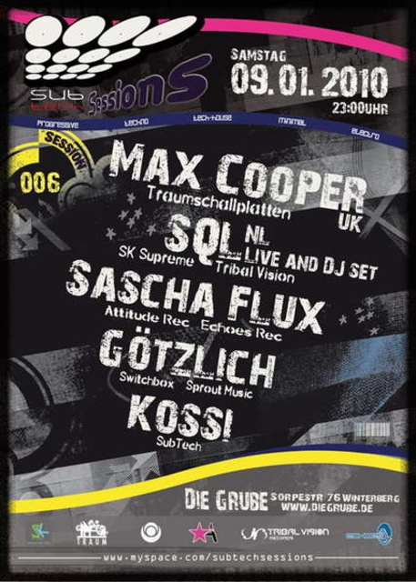 Party Flyer SubTech Sessions6 |MAX COOPER_uk(Traumschallplatten),SQL_nl 9 Jan '10, 23:00