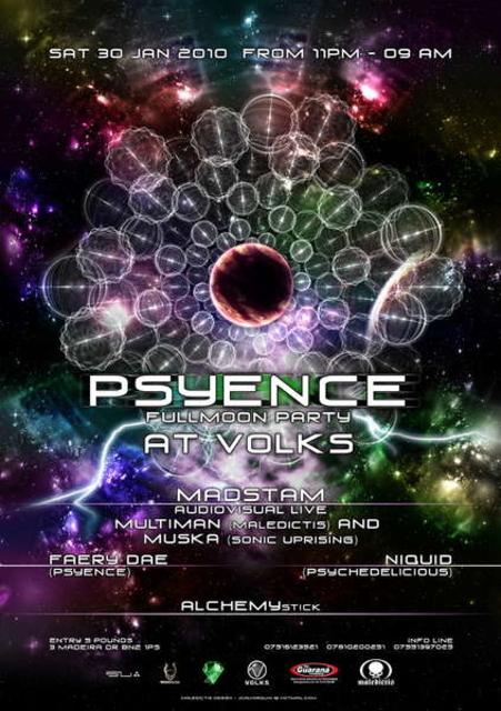 Party Flyer Psyence Full Moon Party 30 Jan '10, 23:00