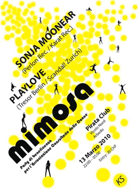 Party Flyer MIMOSA - party di beneficenza per il consultorio delle donne 13 Mar '10, 22:00