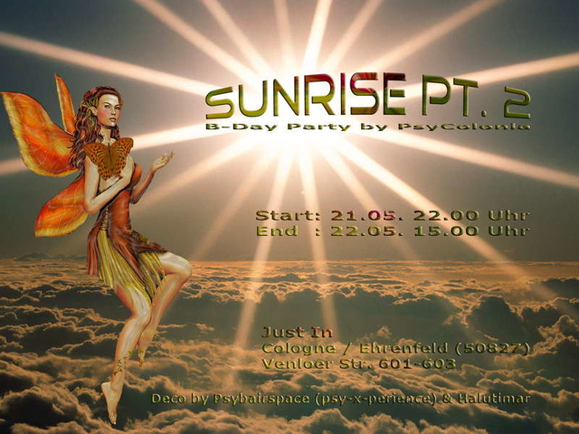 Party Flyer SunRise Bday Party Part 2 by PsyColonia 21 May '10, 22:00