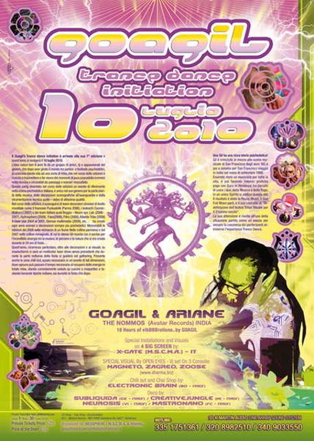 Party Flyer .....::::: GOAGIL TRANCE DANCE INITIATION 2010 :::::..... 10 Jul '10, 20:00