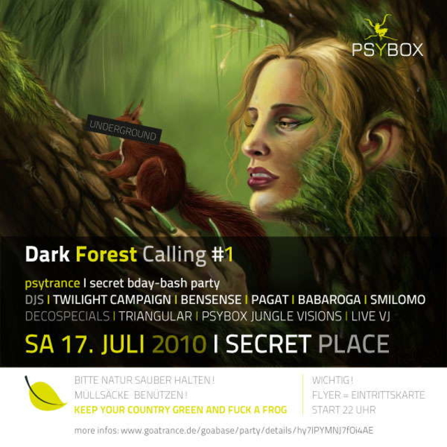 Party Flyer Psybox presents Dark Forest Calling #1 (Secret B-day Bash) 17 Jul '10, 22:00