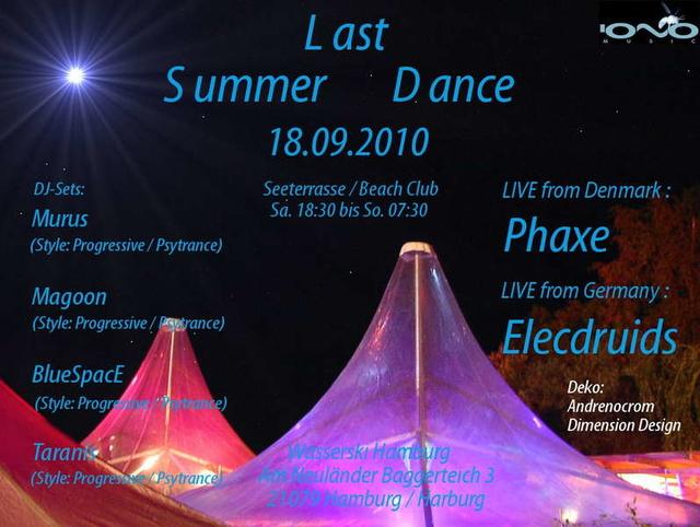 Party Flyer Last Summer Dance OA 18 Sep '10, 18:30
