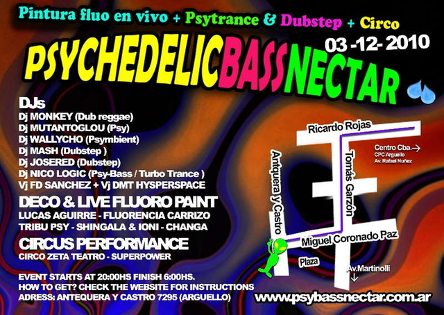 Party Flyer Psychedelic Bass Nectar Fluo Party 3 Dec '10, 20:00