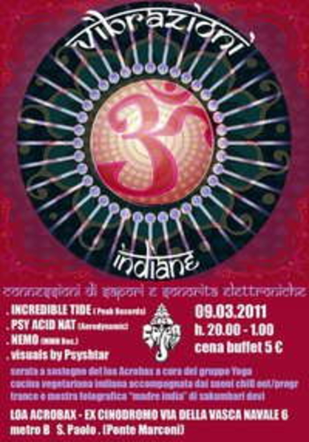 Party Flyer VIBRAZIONI INDIANE connessione di sapori e sonorità elettro 9 Mar '11, 20:00