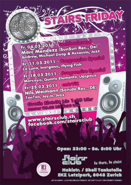 Party Flyer Stairs Friday Progressive 11 Mar '11, 23:00