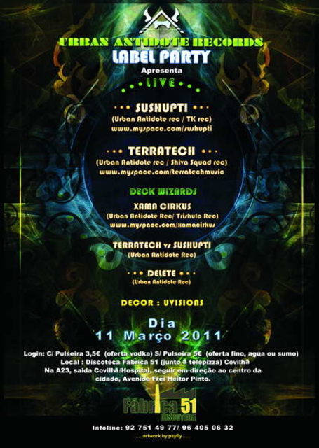 Party Flyer Urban Antidote Records Label Party 11 Mar '11, 23:30