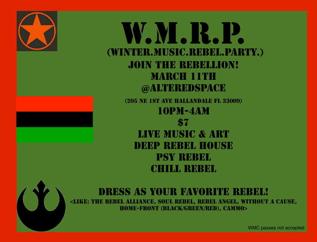 Party Flyer W.M.R.P- Winter Music Rebel Party! 11 Mar '11, 22:00