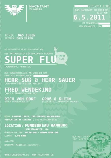 Party Flyer Minimal beim Nachtamt zu Hamburg! 6 May '11, 23:30