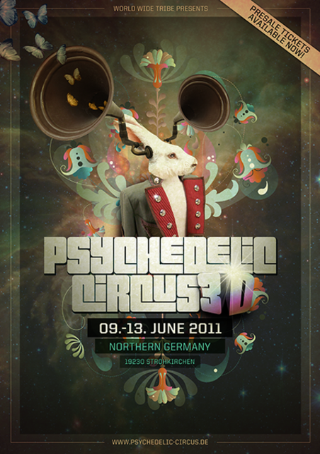 """Party Flyer Psychedelic Circus 3D """"first 3D festival in germany"""" 9 Jun '11, 11:00"""