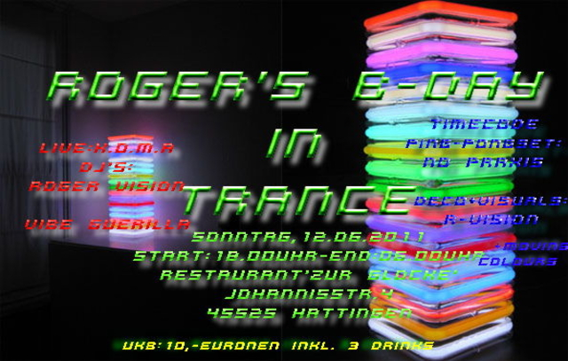 Party Flyer roger's b-day in trance 12 Jun '11, 18:00