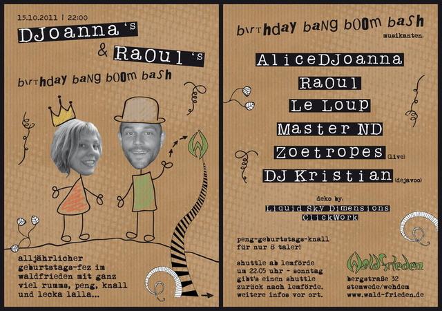 Planet Waldfrieden RaOuls & DJoannas birthday bang boom bash 15 Oct '11, 22:00