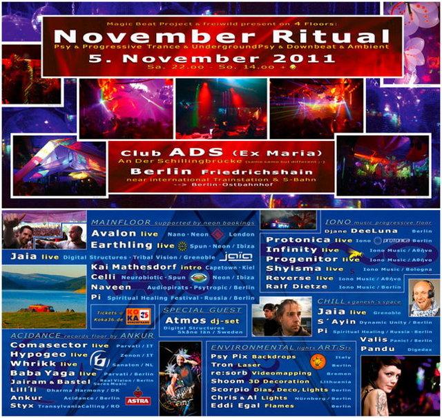Party Flyer November Ritual 2011 --> 4 Floors!! 5 Nov '11, 22:00
