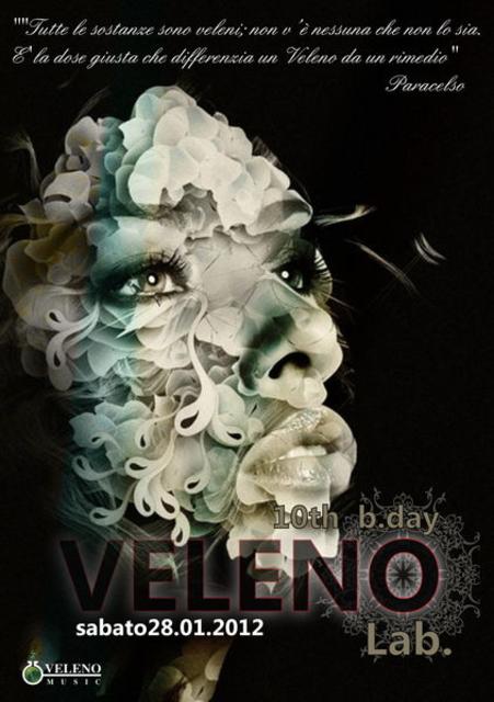 Party Flyer *VELENO Laboratory* 10th b.day! :: Digicult LIVE! 28 Jan '12, 22:00