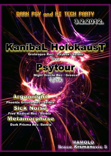 Party Flyer Dark Psy & Hi Tech Trance Night @ Mamolo Club , Belgrade 3 Feb '12, 23:30