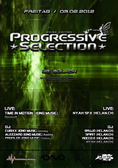Party Flyer ۰•● PROGRESSIVE SELECTION ●•۰ Swiss Edition 3 Feb '12, 22:00