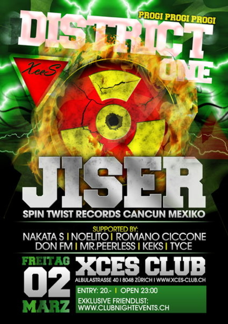 Party Flyer District 1 with *JISER LIVE* 2 Mar '12, 22:00