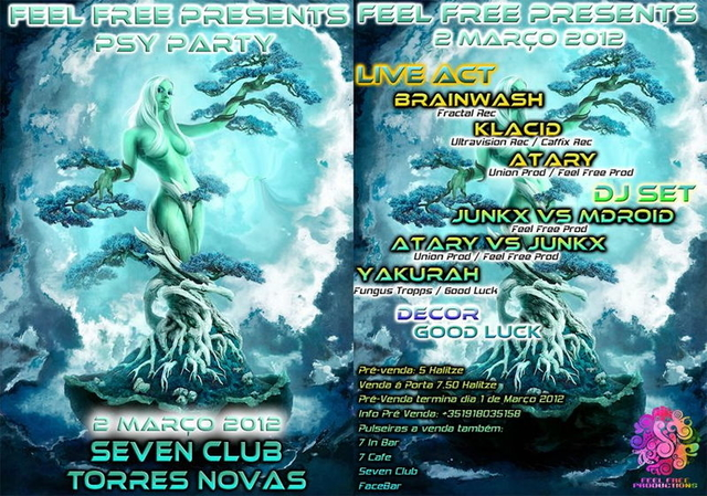 Party Flyer Feel Free Psy Party @ Seven Club 2 Mar '12, 23:00