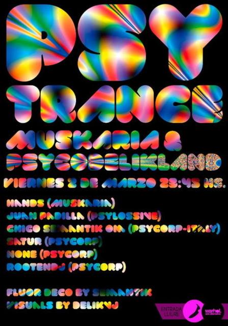 Party Flyer PSYTRANCE PARTY by MUSKARIA & PSYCODELIKLAND 2 Mar '12, 23:30