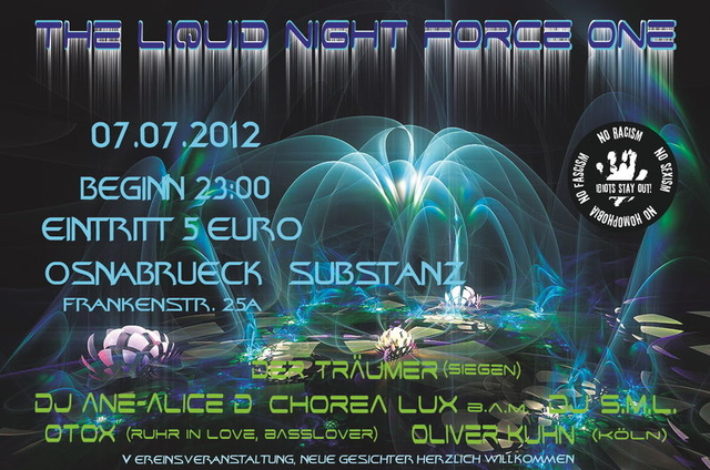 Party Flyer LIQUID NIGHT FORCE ONE 7 Jul '12, 23:00
