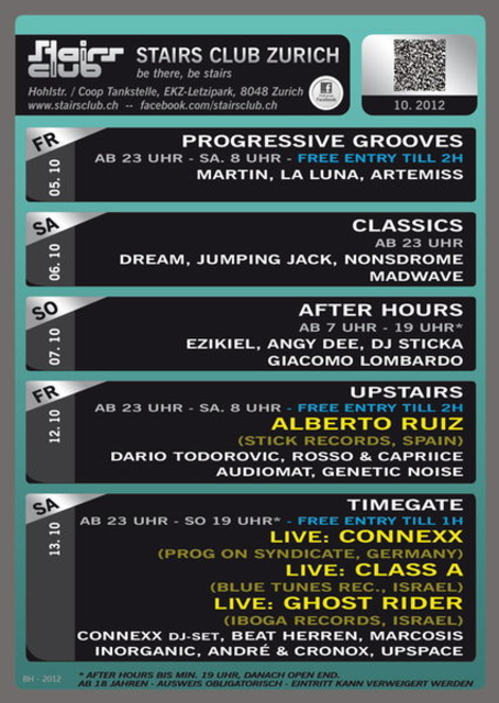 Party Flyer Progressive Grooves @ Stairs Club Zürich 5 Oct '12, 23:00