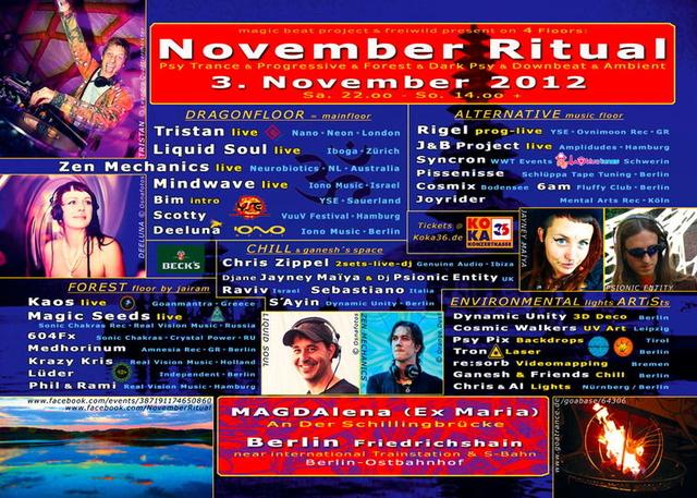 Party Flyer NOVEMBER RITUAL*** 10 years @ Deli-Maria-MagdaLena 3 Nov '12, 22:00