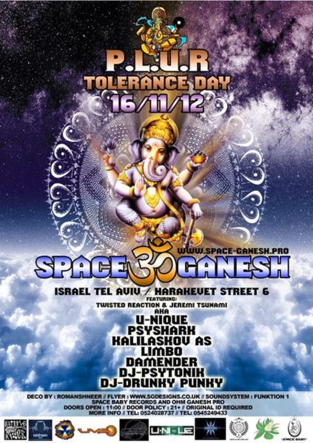 Party Flyer 16/11/12 Space Ganesh hosting Tolerance Day Party 16 Nov '12, 22:00
