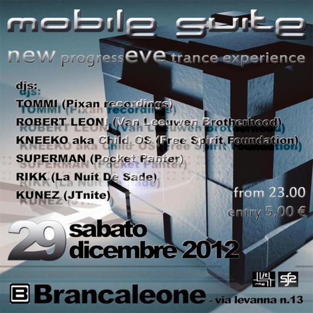 Party Flyer MOBILE SUITE New ProgressEVE Trance Experience 29 Dec '12, 22:30