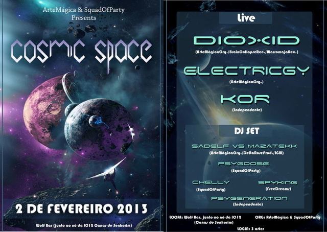 Party Flyer COSMIC SPACE 2 Feb '13, 23:30