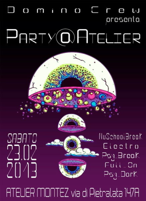Party Flyer DOMINO CREW PARTY @ ATELIER 23 Feb '13, 22:30