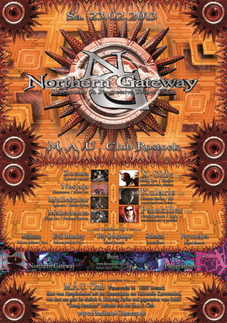 Party Flyer Northern Gateway - PAINKILLER, KULARIS, X-SIDE, LOST & FOUND uvm. 23 Feb '13, 23:00