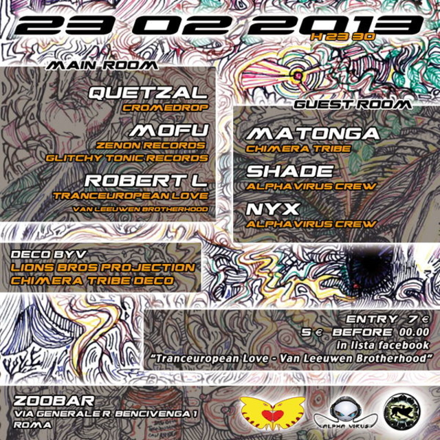 Party Flyer TRANCEUROPEAN LOVE PsYcHeDeLiC SATURDAY LIONS BROTHERHOOD @ZOOBAR 23 Feb '13, 23:00