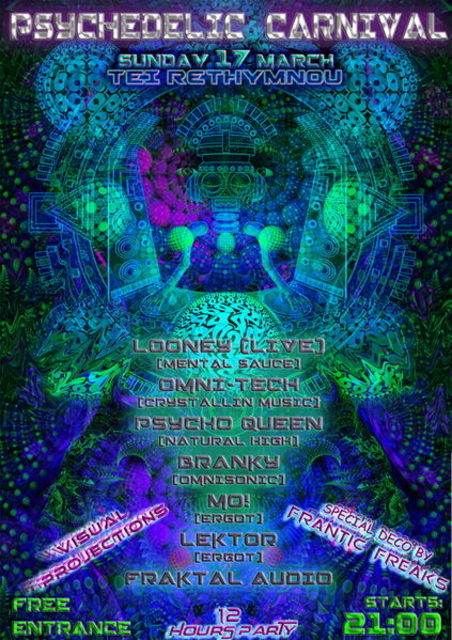 Party Flyer Rethymno Psychedelic Carnival 17 Mar '13, 21:00