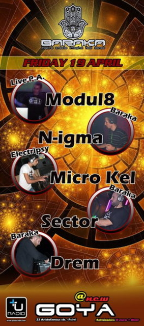 Party Flyer BARAKA presents Modul8 live for the 1st time+Micro Kel / N-igma / Sector / Drem 19 Apr '13, 23:30